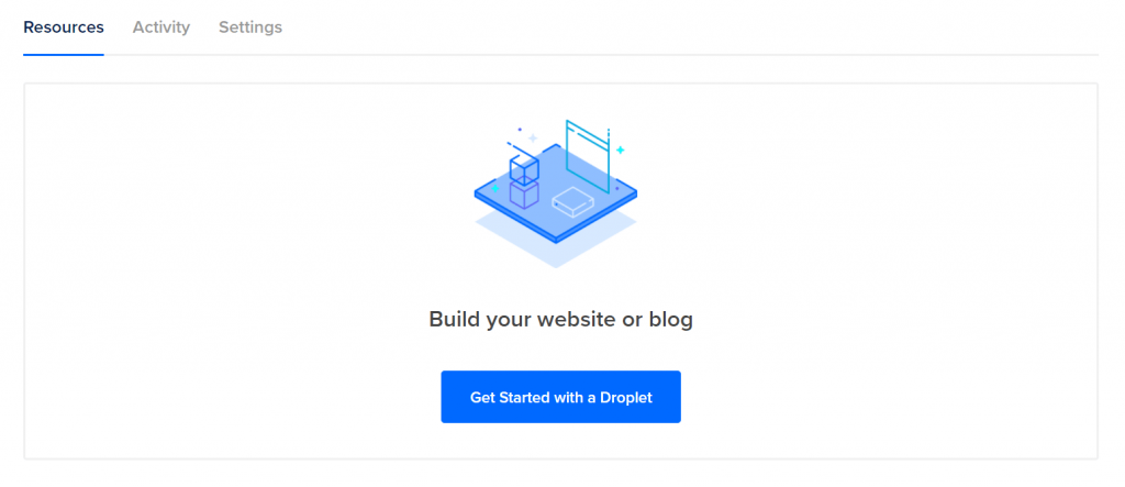 The DigitalOcean menu after you log in is where you will start