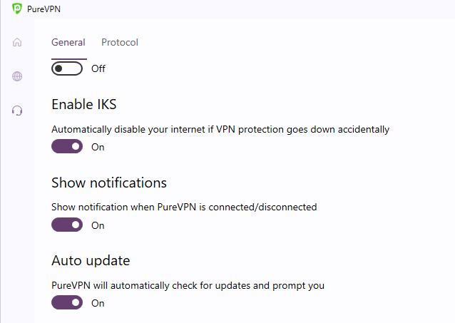 Windows PureVPN settings