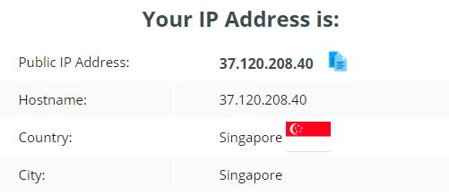 IP leak test OVPN Singapore server