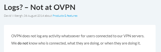 OVPN no logs policy
