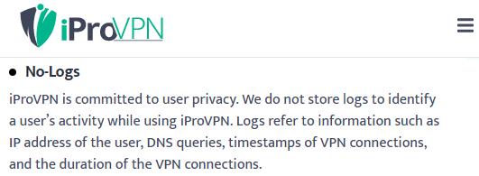 No logs policy iProVPN