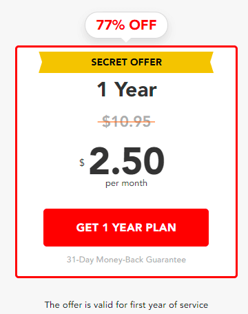PureVPN 1-year secret plan