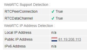 WebRTC leak test iProVPN Netherlands