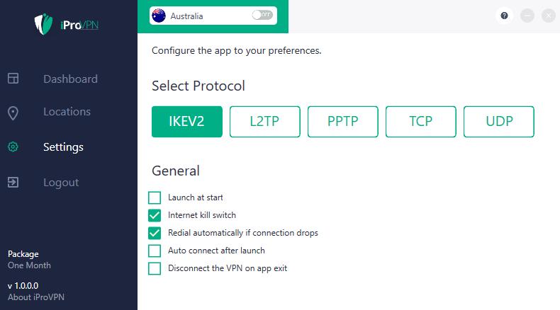 iProVPN settings Windows app
