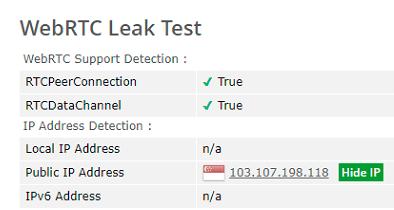 webRTC leak test Singapore server VeePN