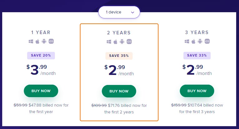 Avast prices for 1 device