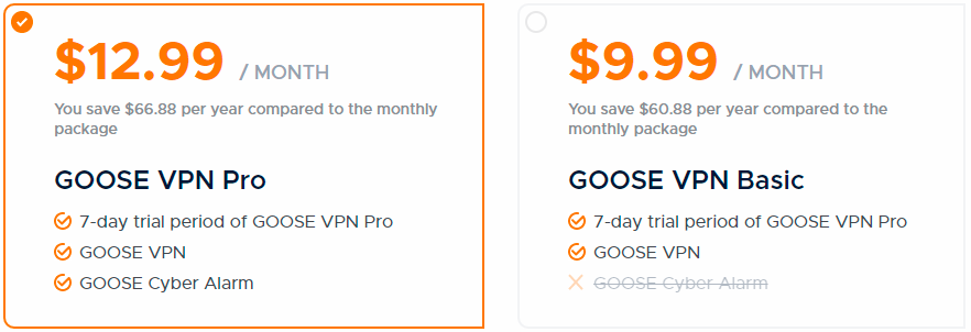 Goose VPN monthly prices