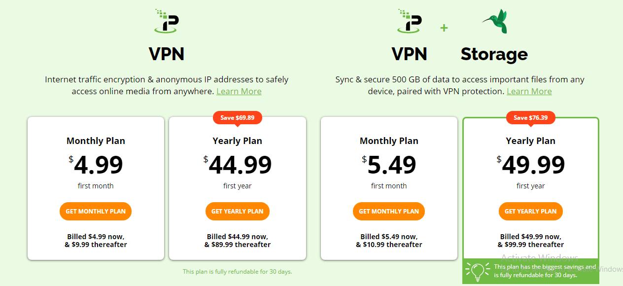 IPVanish + Storage prices