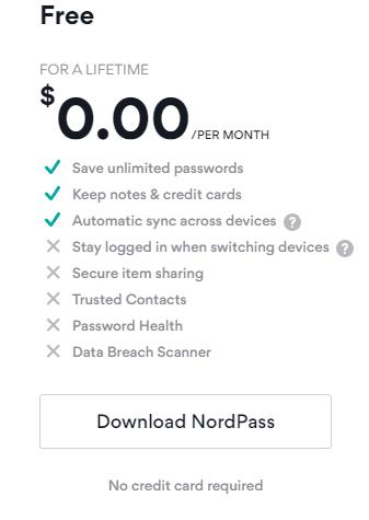 NordPass free plan