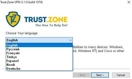 Trust.Zone language set up