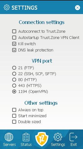 VPN security settings